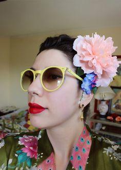 Pink Peony and Wisteria Hairflower by SassafrasFox on Etsy