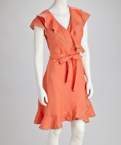 Take a look at this Guava Orange Ruffle Dress by Appraisal on #zulily today! So pretty, I just wish it were a little longer.