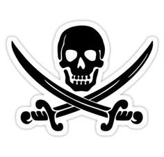 """""""Pirate Flag Skull and Crossed Swords by Chillee Wilson"""" Stickers by ChilleeWilson 