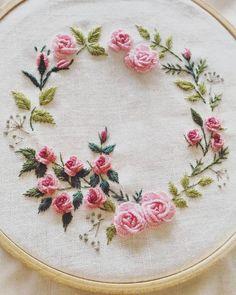 bullion rose wreath embroidery