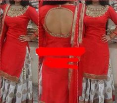 Red High Neck Kurta with deep open back