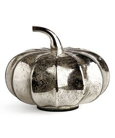 This Shiny Silver Thanksgiving Pumpkin Décor is perfect! #zulilyfinds