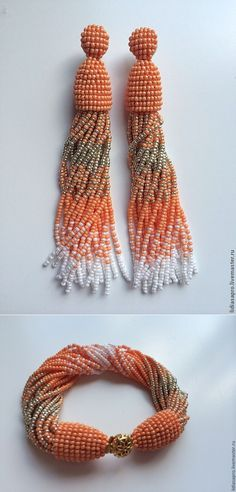 Koop oorbellen en armband perzik Oscar - goud - goud, perzik, oorbellen, kralen, kralen armband