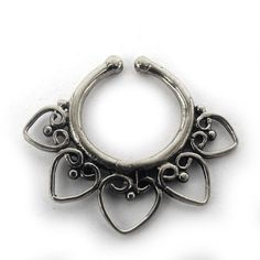 FAKE FAUX SEPTUM RING - Model F2 hearts -  US $16.99 - New, never worn - silver-plated ornate brass