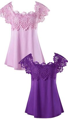 Plus Size Lace Trim Cutwork T-shirt - Purple Top Fashion, Plus Size Fashion, Fashion Outfits, Crochet Clothes, Diy Clothes, Clothes For Women, Dressy Tops, Pretty Outfits, Cute Outfits