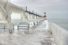 In Michigan, during last polar vortex, all the lighthouses and piers were frozen by the waves that came crashing down and then froze