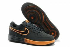 Nike Air Force 1 Black Orange Men's Basketball Shoes