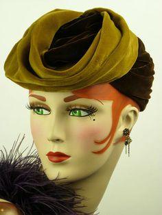 Vintage Hat 1940s Gold Brown Silk Velvet Turban Mathilde Original Stunning | eBay