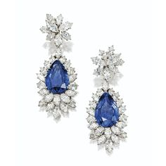Pair of sapphire and diamond pendant-earclips, Harry Winston | Lot | Sotheby's