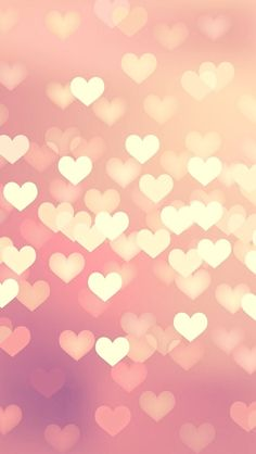 Coral Pink heart bokeh