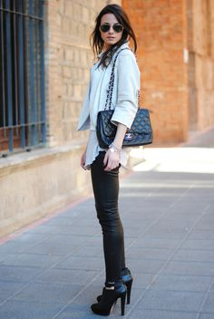 leather leggings, white jacket, chanel bag, black high heeled booties