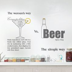 "Use this cool statement vinyl wall decal to upgrade your space! This wall sticker emphasis the difference between men and women in humor way, a sophisticated martini glass with ""how to use"" instructions that represent the women and next to it a bottle of Beer for a men with ""The simple way"" text.$44.95"