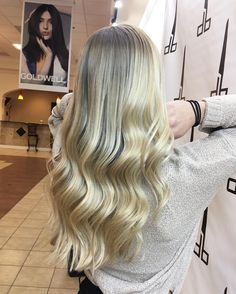 """23 Likes, 2 Comments - Sarah Mathews (@sarahgmathews) on Instagram: """"Request: Blonder than blonde. I'd say we hit the nail on the head 👊 #iamgoldwell color, styled with…"""""""