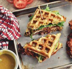 Fried Chicken Waffle Sandwiches.