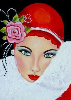 Red - Julies retro Art page: Art Deco Ladies Retro Kunst, Retro Art, Vintage Art, Moda Vintage, Art Deco Illustration, Moda Art Deco, Tableaux Vivants, Art Deco Stil, Kunst Poster