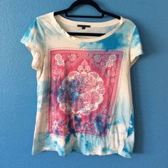 Blue and white tie dye with pink lotus flowers Comfy and great to wear out or even to the gym or soft enough for bed Urban Outfitters Tops