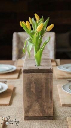 DIY Spring Craft Ideas - DIY Glass Bottle & Wood Vase