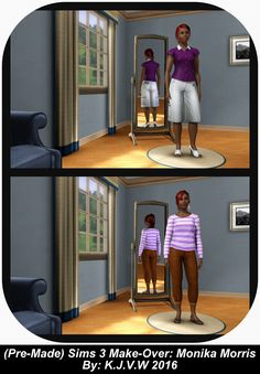 https://flic.kr/p/ESpV71   (Premade) Sims Makeover 3   Monika Morris  A townie (NPC Sim) from the neighboorhood Sunset Valey And part of the ''Working Friends Household''.  The Sims 3 Franchise belongs to EA/Maxis  I didn't had any commercial purpose to make this, just for fun.