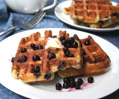 Blueberry coconut waffles. The batter can also be used to make blueberry doughnuts