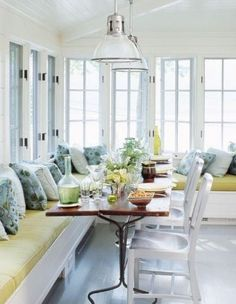 blue and yellow kitchen by belinda- love the idea of having a bench seat!