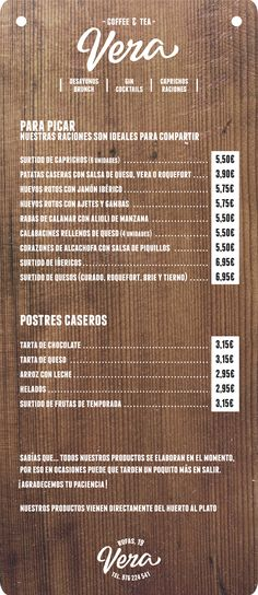Best of Art of the Menu - No. 12 Vera,  Cafe in Zaragoza, Spain