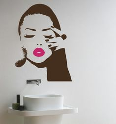 Girl Face with Hand Manicure Wall Decals Wall Vinyl by BestDecals