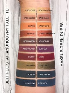 Jeffree Star Androgyny palette vs MUG eyeshadows Eyeshadow Dupes, Skincare Dupes, Beauty Dupes, Beauty Makeup, Lipstick Dupes, Eyeshadow Palette, Beauty Hacks, Smokey Eye Makeup, Skin Makeup