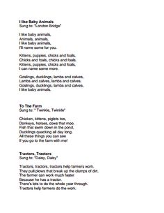 Farm Songs.pdf Farm Animal Songs, Farm Songs, Farm Animals, Fall Preschool, Preschool Songs, Preschool Lessons, Songs For Toddlers, Kids Songs, Circle Time Songs