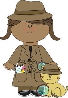 Little Girl Detective with Cat Clip Art - Little Girl Detective with Cat Image Clipart, School Themes, Classroom Themes, Pta School, Classroom Design, Sunday School, School Ideas, Spy Kids, Art For Kids