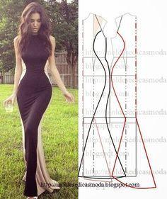 PASSO A PASSO MOLDE DE VESTIDO Desenhe o molde base. Desenhe a altura a seu gosto. Desenhe a linha curva no peito e nas costas. Copie para papel a parte da