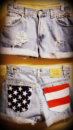 Wanna try and make these studded american flag shorts! - Continued!
