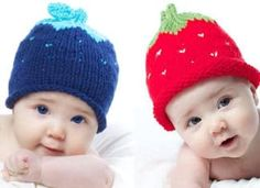 How to Knit a Strawberry Berry Baby Hat with Free Knitting Pattern + Video Tutorials by Studio Knit Baby Hat Knitting Patterns Free, Baby Hat Patterns, Baby Hats Knitting, Crochet Baby Hats, Knitting For Kids, Loom Knitting, Free Knitting, Knitting Projects, Knitted Hats