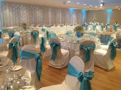 White with Blue Chair Covers