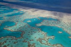 Aerial view of the Great Barrier Reef.
