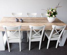 Steigerhouten tafel met dikke planken en wit onderstel