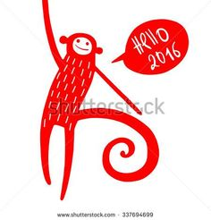 fire monkey red monkey chinese zodiac icon symbol of 2016 new year new year greeting card with hand drawn monkey