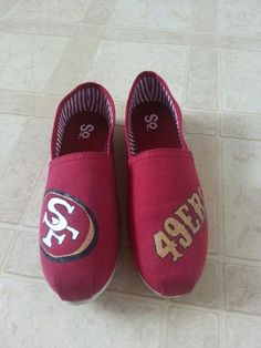 #niners #49ers #football #sanfrancisco #paintedshoes www.facebook.com/1crazycrafter