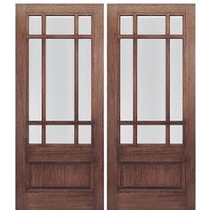 MAI Doors HTC700-2 Front Doors On Sale Mahogany Square Top 9-Lite with a Panel Bottom Exterior Double Door