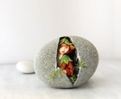 Painted stone. Unique collectible stone Express Free by sabiesabi
