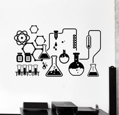 Science Chemical Lab Vinyl Wall Stickers Kids Scientist Chemistry School Sticker Removable Wall Decals Home Decor Bedroom Price history. Subcategory: Home Decor. Wall Stickers Murals, Vinyl Wall Decals, Science Bedroom, Chemistry Art, Chemistry Tattoo, Pharmacy Design, Removable Wall Decals, Science Art, Science Space