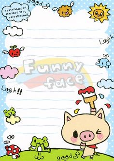 """""""Funny face"""" doodle memo paper"""
