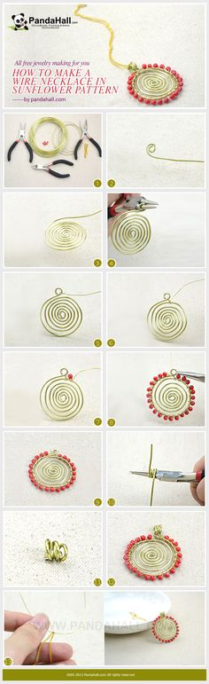 All Free Jewelry Making for You- How to Make a Wire Necklace in a Sunflower Pattern from pandahall.com