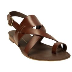 Step Out In Style / Franco Sarto Gia Toe Loop Flat Sandal #VonMaur #FrancoSarto #Brown #Strappy #ToeLoop ||