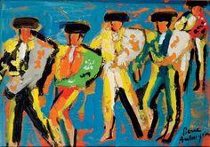 """Pierre AMBROGIANI (1907-1985)  """"Les toreros"""". Huile sur panneau"""