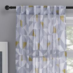 KOO Botanical Element Concealed Tab Top Curtains Grey 140 x 250 cm Tab Top Curtains, Grey Curtains, Curtains With Blinds, Modern, Prints, Design, Home Decor, Gray Curtains, Grey Check Curtains
