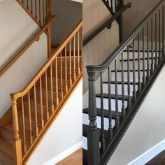 Hallway Decorating 660762576557052885 - Before (left), laminate stair tread with aluminum nosing. After, walnut hardwood treads with painted risers. Oak banister painted with Benjamin Moore Scuff-X, Behr color: Burnished Pewter. Stair Railing Design, Staircase Railings, Oak Banister, Black Stair Railing, Staircase Ideas, Staircase Pictures, Black Staircase, Stair Treads, Bannister Ideas Painted