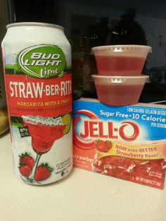 I love beer and I love jello shots so I came up with a brilliant idea.  1 16oz can of straw-ber-rita (or lime-a-rita) 2 cups boiling water and 1 6oz package of jello.  Mix jello packet into 2 cups boiling water then add Rita and presto....a jello shot beer drinkers can enjoy. .