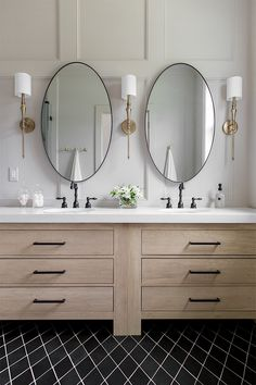 Take your bathroom to a new level with a vanity that features two sinks and two mirrors from Overstock. We have a huge collection of beautiful bathroom furniture and decor that will give your bathroom the perfect look for less. Bathroom Mirror Design, Bathroom Layout, Bathroom Colors, Bathroom Styling, Bathroom Interior Design, Bathroom Ideas, Funky Bathroom, Restroom Design, Tile Layout
