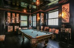 Gothic Victorian Billiard Room In chateau Fleur de lys Check us out on Fb- Unique Intuitions #uniqueintuitions #gothic #interior