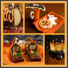Halloween treats:  Tombstone brownies, chocolate covered apples, lady fingers and more
